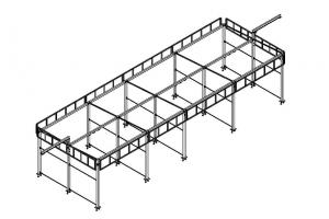 Металлоконструкция автомойки «Стандарт» (3 поста моечных, 1 пост технический, 2 поста моечных под выносными консолями)